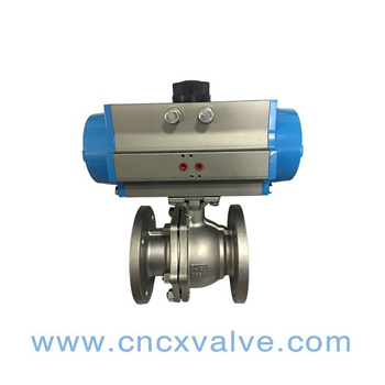 2PC Ball Valve Flanged End With Direct Mounting Pad with Pneumatic Actuator