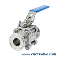 Sanitary 3pc Tri-clamp Ball Valve with Encapsulated Seat