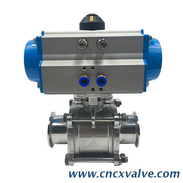 Sanitary 3-Piece Tri Clamp Ball Valve With Iso5211 High Mounting Pad